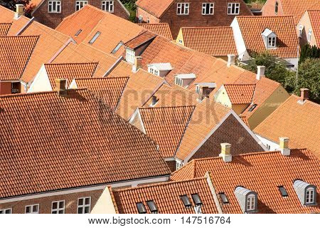 Rooftops in old Danish town Ribe. Birdseye view August 2012