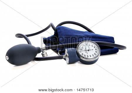 Sphygmomanometer over white background