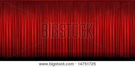 Large red stage curtain with light and shadow - Image stitched from several photographs