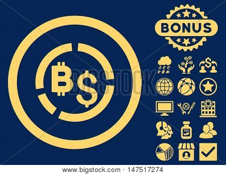 Bitcoin Financial Diagram icon with bonus pictogram. Vector illustration style is flat iconic symbols, yellow color, blue background.