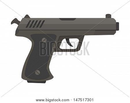 Flat vector illustration of powerful metal pistol, gun, handgun, weapon isolated on white.