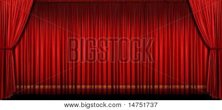 Large red stage curtain with light and shadow