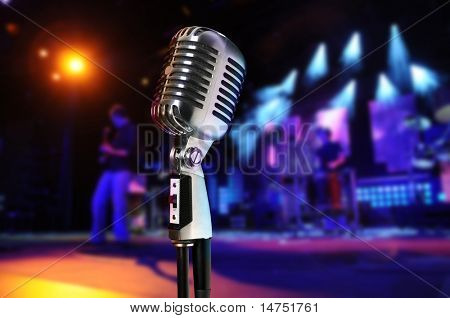 Vintage microphone at concert