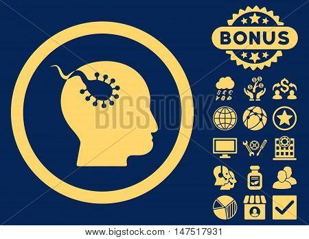 Brain Parasite icon with bonus pictogram. Vector illustration style is flat iconic symbols, yellow color, blue background.