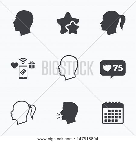 Head icons. Male and female human symbols. Woman with pigtail signs. Flat talking head, calendar icons. Stars, like counter icons. Vector