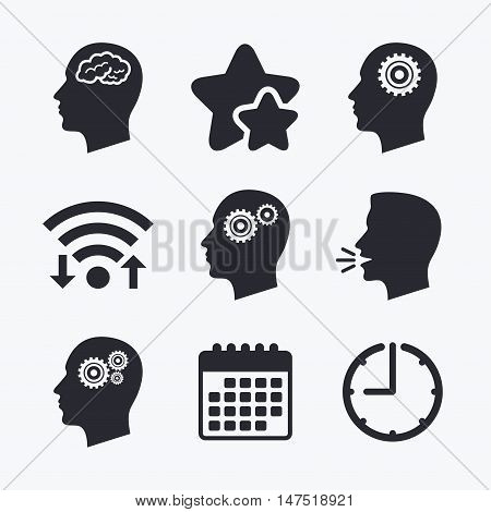 Head with brain icon. Male human think symbols. Cogwheel gears signs. Wifi internet, favorite stars, calendar and clock. Talking head. Vector