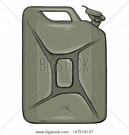 Vector Cartoon Single Old Khaki Military Jerry Can