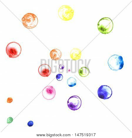 Watercolor illustration of rainbow soap bubbles spiral. Hand made painting.