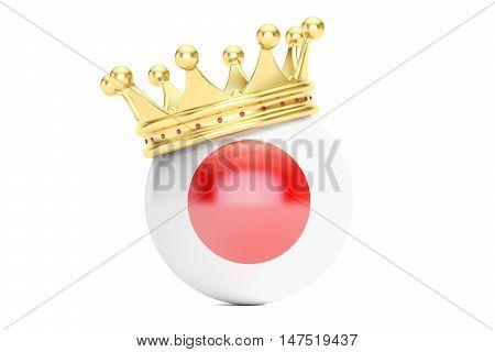 Crown with flag of Japan 3D rendering