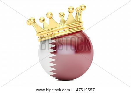 Crown with flag of Qatar 3D rendering