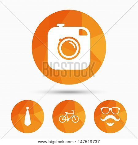 Hipster photo camera. Mustache with beard icon. Glasses and tie symbols. Bicycle sign. Triangular low poly buttons with shadow. Vector
