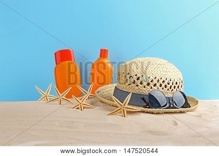 Beach accessories on sand