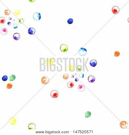 Watercolor illustration of rainbow soap bubbles spirals. Seamless pattern. Hand made painting.