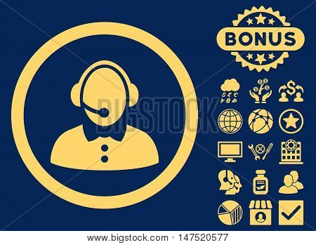 Call Center Woman icon with bonus symbols. Vector illustration style is flat iconic symbols, yellow color, blue background.