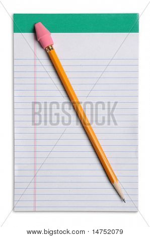 Yellow pencil with eraser over note pad isolated over white background