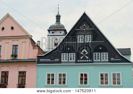 House roofs in the historic center of Decin in North Bohemia. Czech Republic