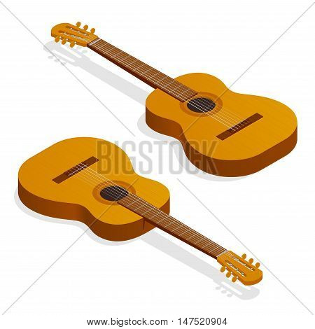 Isometric Classical acoustic guitar. Isolated classic guitar. Musical string instrument collection. Vector illustration
