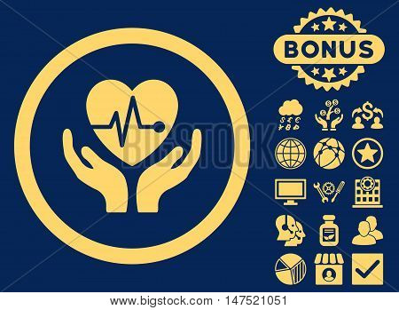 Cardiology icon with bonus images. Vector illustration style is flat iconic symbols, yellow color, blue background.