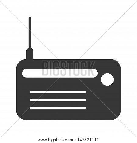 portable retro radio with antenna. telecommunication and entertainment device. vector illustration