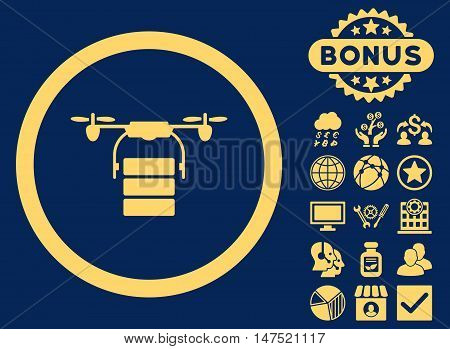Cargo Drone icon with bonus pictogram. Vector illustration style is flat iconic symbols, yellow color, blue background.