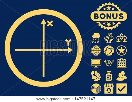 Cartesian Axis icon with bonus design elements. Vector illustration style is flat iconic symbols, yellow color, blue background.
