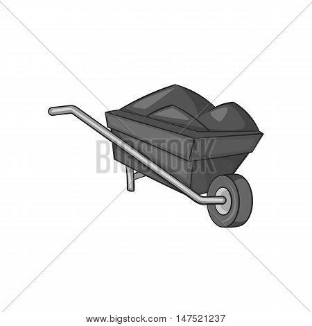 Wheelbarrow icon in black monochrome style on a white background vector illustration