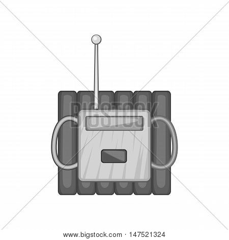 Bomb with clock timer icon in black monochrome style on a white background vector illustration
