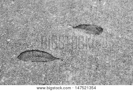 Leave impressions in the cement on a sidewalk.