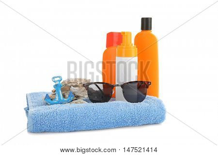 Sun protection accessories, isolated on white