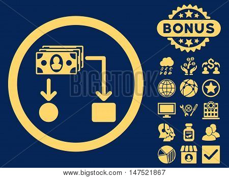 Cashflow icon with bonus pictures. Vector illustration style is flat iconic symbols, yellow color, blue background.