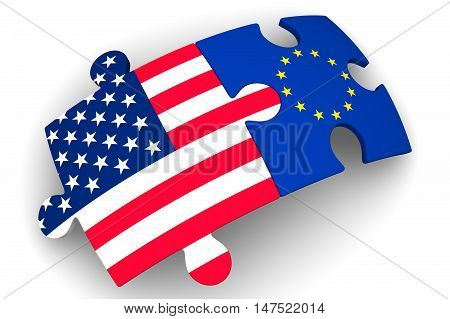 Cooperation between the European Union and the United States of America. Concept. Puzzles with flags of the European Union and the United States of America on a white surface. The concept of coincidence of interests in geopolitics. Isolated. 3D Illustrati