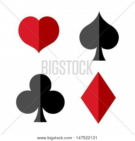 Vector Set Of Flat Playing Cards Suits Signs