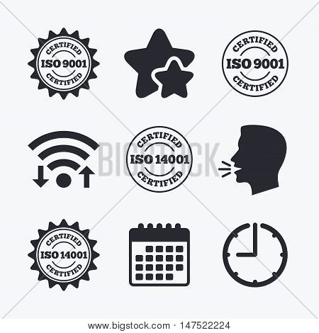 ISO 9001 and 14001 certified icons. Certification star stamps symbols. Quality standard signs. Wifi internet, favorite stars, calendar and clock. Talking head. Vector
