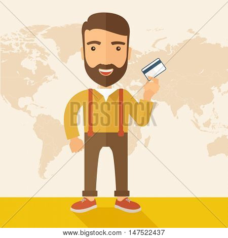 A happy hipster Caucasian businessman thankfully standing holding his credit card. Fulfillment concept. A contemporary style with pastel palette, beige tinted background. flat design illustration