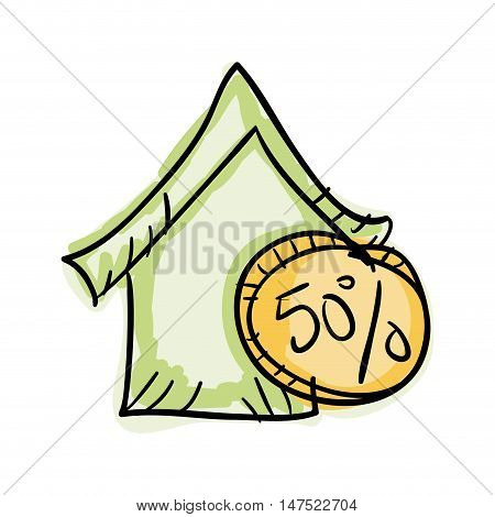 green house with money coin. economy finance symbol. vector illustration