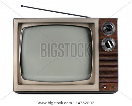 Vintage television with antenna isolated over white background - With clipping path