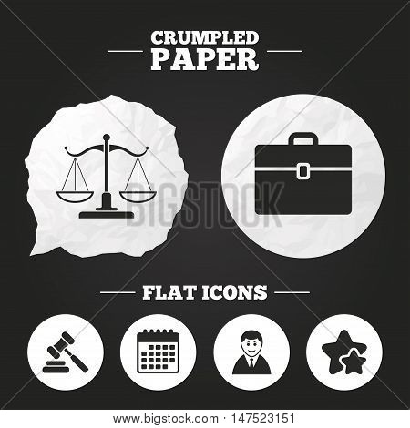 Crumpled paper speech bubble. Scales of Justice icon. Client or Lawyer symbol. Auction hammer sign. Law judge gavel. Court of law. Paper button. Vector