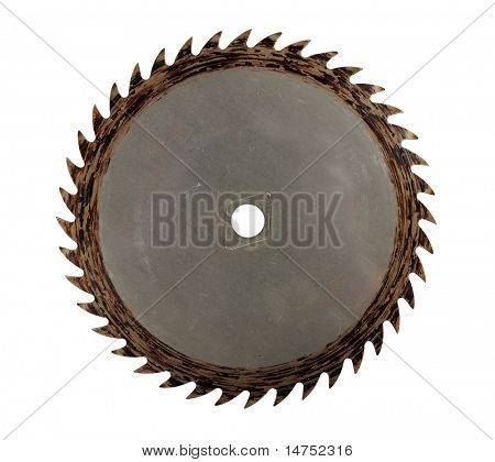 Old circular saw isolated over white background - With clipping path