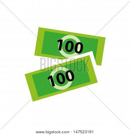 green hundred bill money. economy type of payment. vector illustration