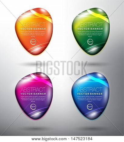 Set of 4 round, orange, green, blue and violet pebble stones with realistic light and shadow on the light background. Each item contains space for own text. Vector illustration. Eps10.