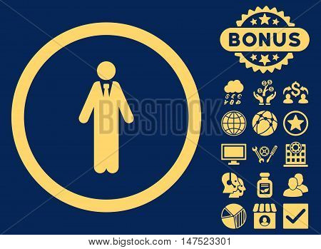 Clerk icon with bonus pictures. Vector illustration style is flat iconic symbols, yellow color, blue background.