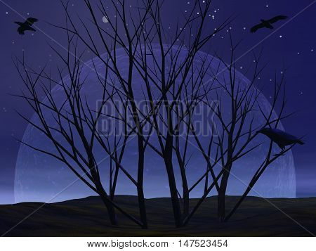 Dead tree bush in the desert with crow raven by night with full moon - 3D render