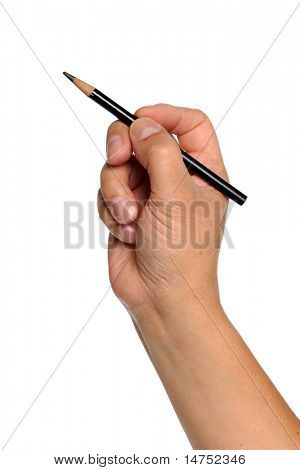 Man's hand holding black pencil isolated over white background