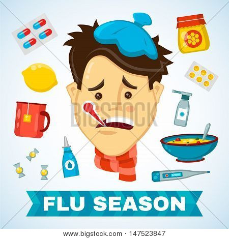Sick man with thermometer in his mouth vector flat ollustration character. Flat icon set of cold and flu season items
