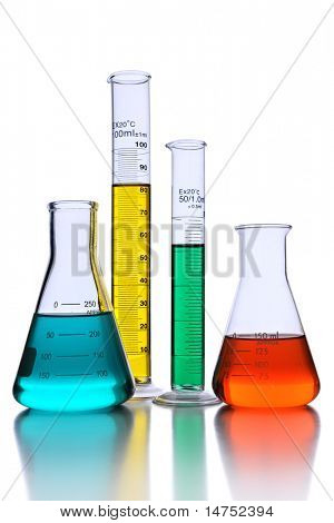 Laboratory glassware with reflections over white background - With Clipping path