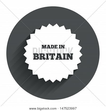 Made in Britain icon. Export production symbol. Product created in UK sign. Circle flat button with shadow. Modern UI website navigation. Vector