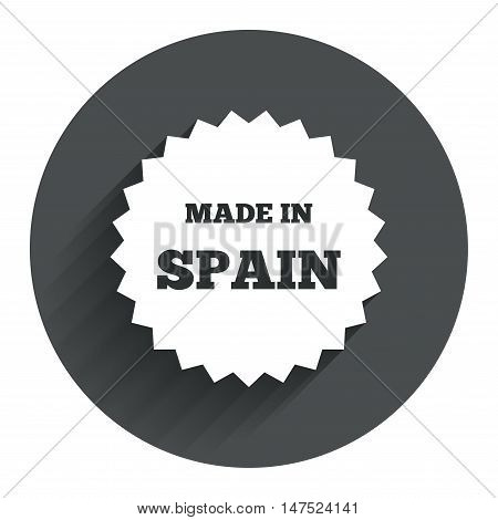 Made in Spain icon. Export production symbol. Product created sign. Circle flat button with shadow. Modern UI website navigation. Vector