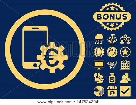 Configure Mobile Euro Bank icon with bonus pictogram. Vector illustration style is flat iconic symbols, yellow color, blue background.