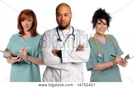 Medical Team with a doctor and nurses isolated over white background