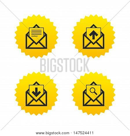 Mail envelope icons. Find message document symbol. Post office letter signs. Inbox and outbox message icons. Yellow stars labels with flat icons. Vector